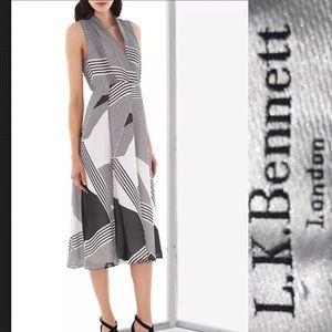 L.K. Bennett Natasha Dress, Black/White Sz 2